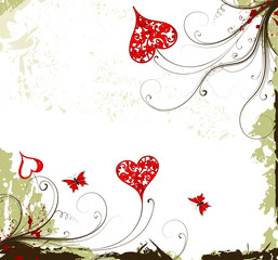 Valentines Day grunge background with Hearts, flowers