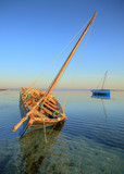 beautiful dhow or traditional fishing sailing boat in the water