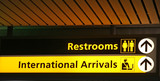 Restroom and International Arrival lighted direction sign  poster