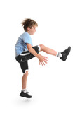 Healthy young child doing fitness exercises. poster