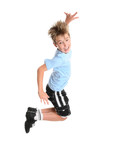 Active energetic and happy go lucky boy leaping and smiling poster