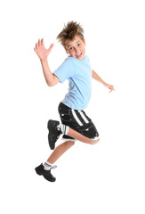 Hopping or skipping child showing happiness.