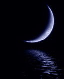 New moon above calm waters on a clear night poster
