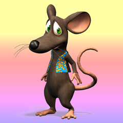 Very cute toon mouse with clipping path