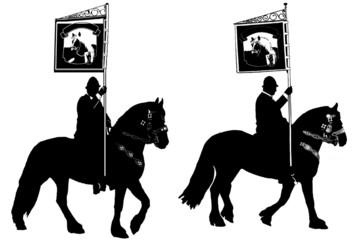 zwei Reitersilhouetten mit Standarte