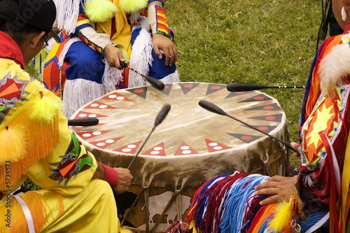 Indians around a drum at a Pow Wow  - 5736573