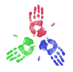 red blue and green finger painted hand print