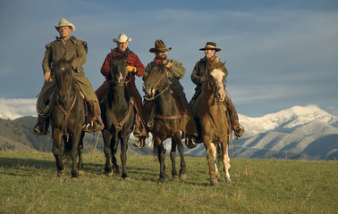 Working cowboys on the range.Working horse ranch in Montana