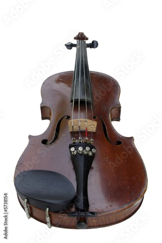 old Violin isolated on white