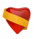 Red valentine heart with golden ribbon cutout poster