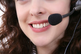 A close-up of a customer service woman with earphone poster