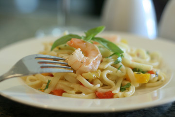 Pasta - Shrimp Linguine with Lemon Basil Garlic Sauce