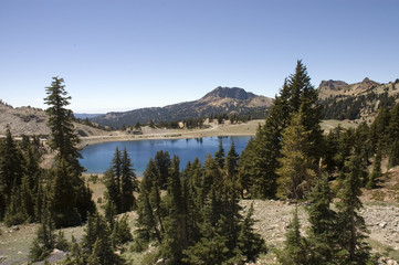 Helen Lake a tree lined Mountain lake in Lassen National Park