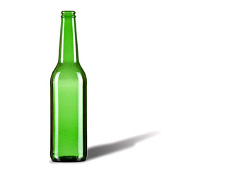Green beer bottle against white background. Bubbles inside..