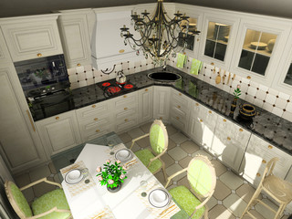 Kitchen with the classic furniture. 3D render.
