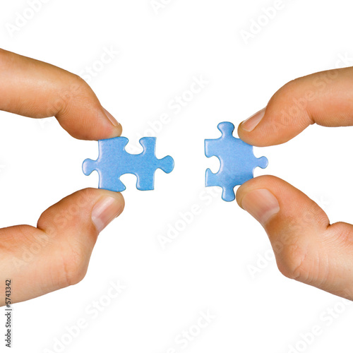 Hands and puzzle, isolated on white background