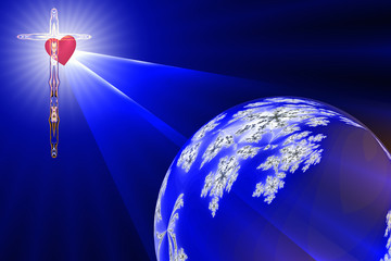 The Heart of The Cross shines on the blue planet earth