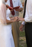 bride placing ring on grooms finger poster
