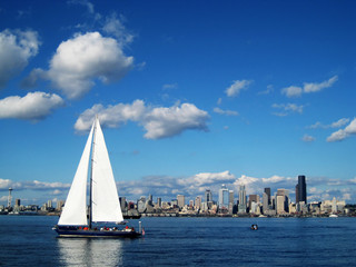 Seattle Skyline with a large sailboat