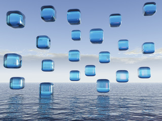 Crystal Blue Cubes over Water