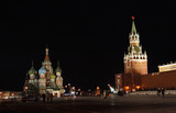 Russia. Red square, kremlin, Moscow, night poster