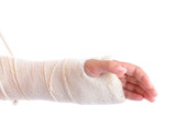 Broken Arm immobilized on white background . poster