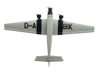 military toy airplane on white background