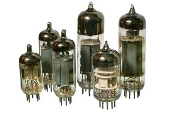 Glass vacuum radio tubes. Isolated objects on white background