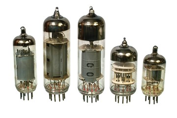 Glass vacuum radio tubes. Isolated image on white background