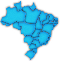 Carte Brésil 3D Bleu