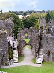 Interior of Restormel castle in Cornwall.