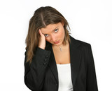 nice young businesswoman over white with headache poster