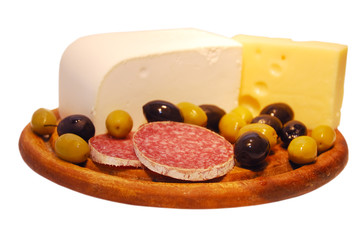cheese with olives and salami