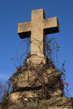 An old gravestone cross against blue sky. poster