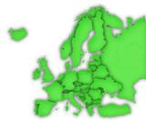 Carte Europe 3D Vert poster