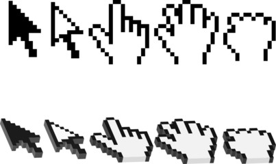 hand and arrow cursors in vector format