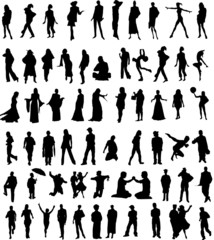 People posing silhouettes - vector
