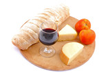 Meal - Bread and Cheese food and a wine glass . poster
