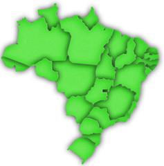 Carte Brésil 3D Vert