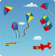 vector illustration of various kites in the blue sky