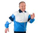 Active senior in a sportsuit running poster