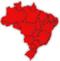 Carte Brésil 3D Rouge
