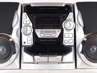 Silver Boom Box Stereo with CD Tape Tuner Aux