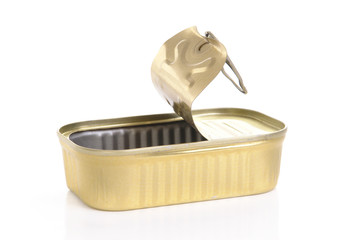 Empty canned fish tin over white background