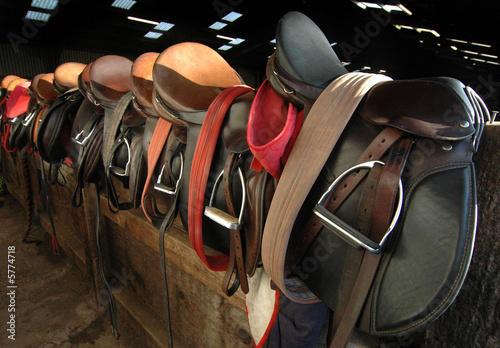 canvas print picture Saddles in the barn