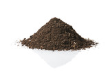 Pile of soil isolated on white background poster
