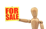 figure holding a sale announcement isolated on white  poster