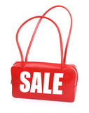 red leather handbag with red sale sign on white background,  poster