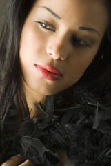 portrait of young cute brunette with black feather and red lips