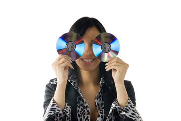 young brunette playing with cd and making nice expression